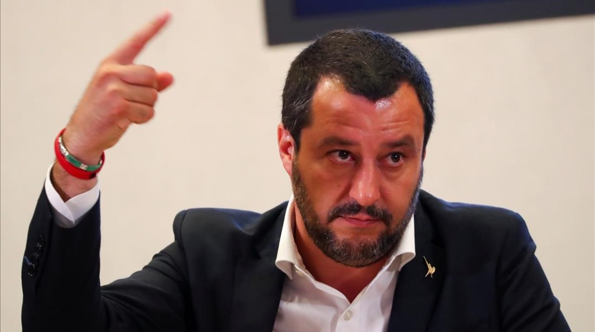 El Ministro italiano del Interior, Matteo Salvini, en una rueda de prensa.