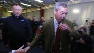 Nigel Farage en un acto electoral hoy jueves en la ciudad inglesa deHull.