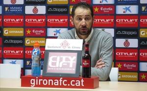 Pablo Machín, en la sala de prensa de Girona