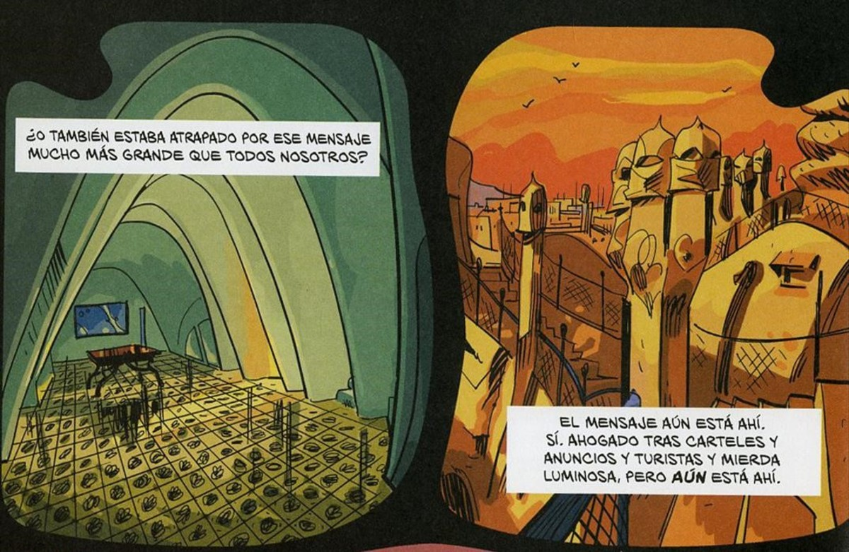 Viñetas de 'El fantasma de Gaudí', de El Torres y Jesús Alonso Iglesias, Premio a Mejor obra de autor español en el Salón del Cómic de Barcelona.