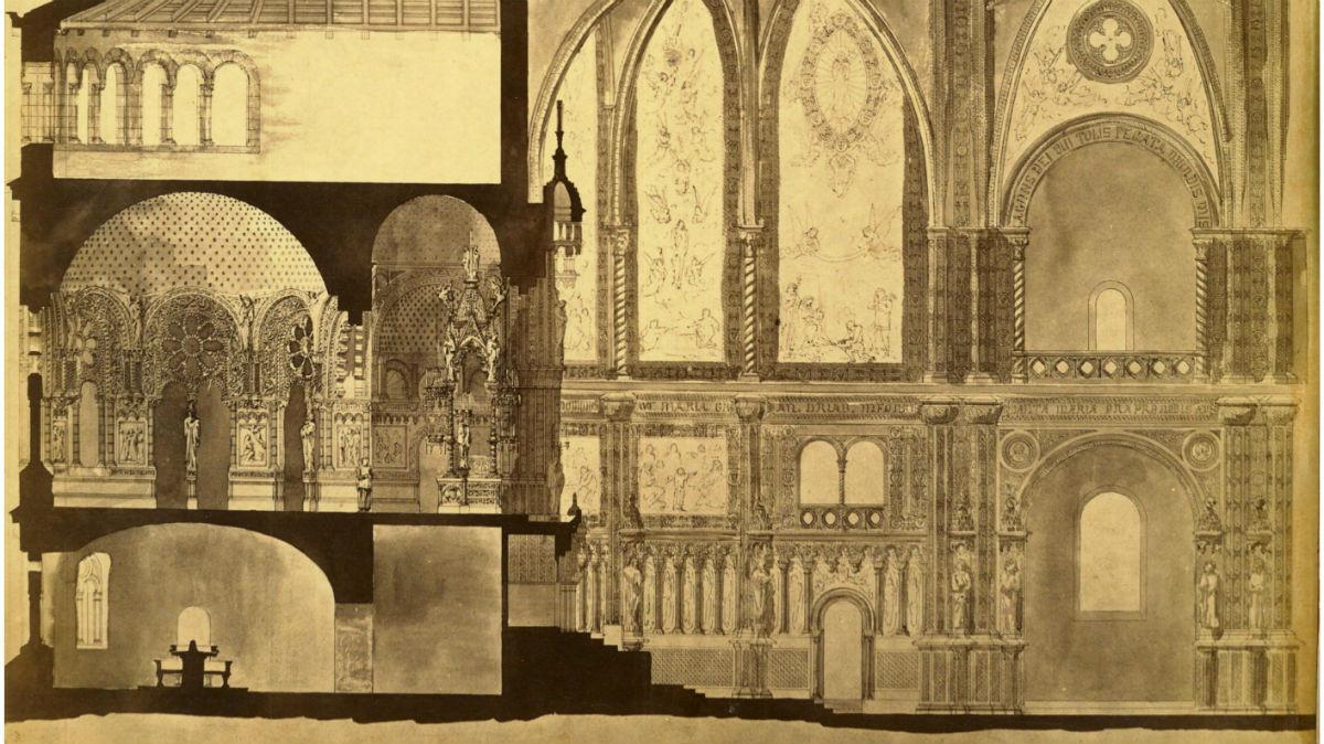 Fragmento del camerín de la Virgen y el presbiterio, plano dibujado por Antoni Gaudí durante la reconstrucción de la basílica de Montserrat proyectada por el arquitectoVillar Lozano.