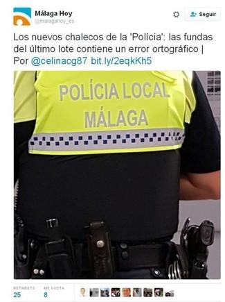 Los chalecos de la Policía Local de Málaga, con el polémico acento.