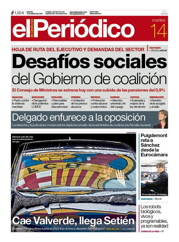La portada de EL PERIÓDICO del 14 de enero del 2020.
