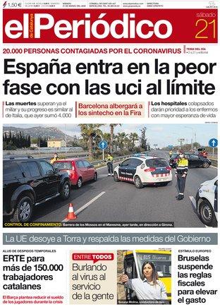 La portada de EL PERIÓDICO del 21 de marzo del 2020