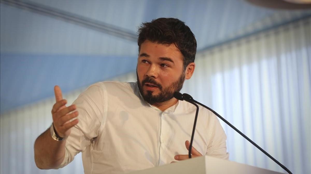 El portavoz de ERC en el Congreso, Gabriel Rufián, en una imagen del pasado junio, en Barcelona.