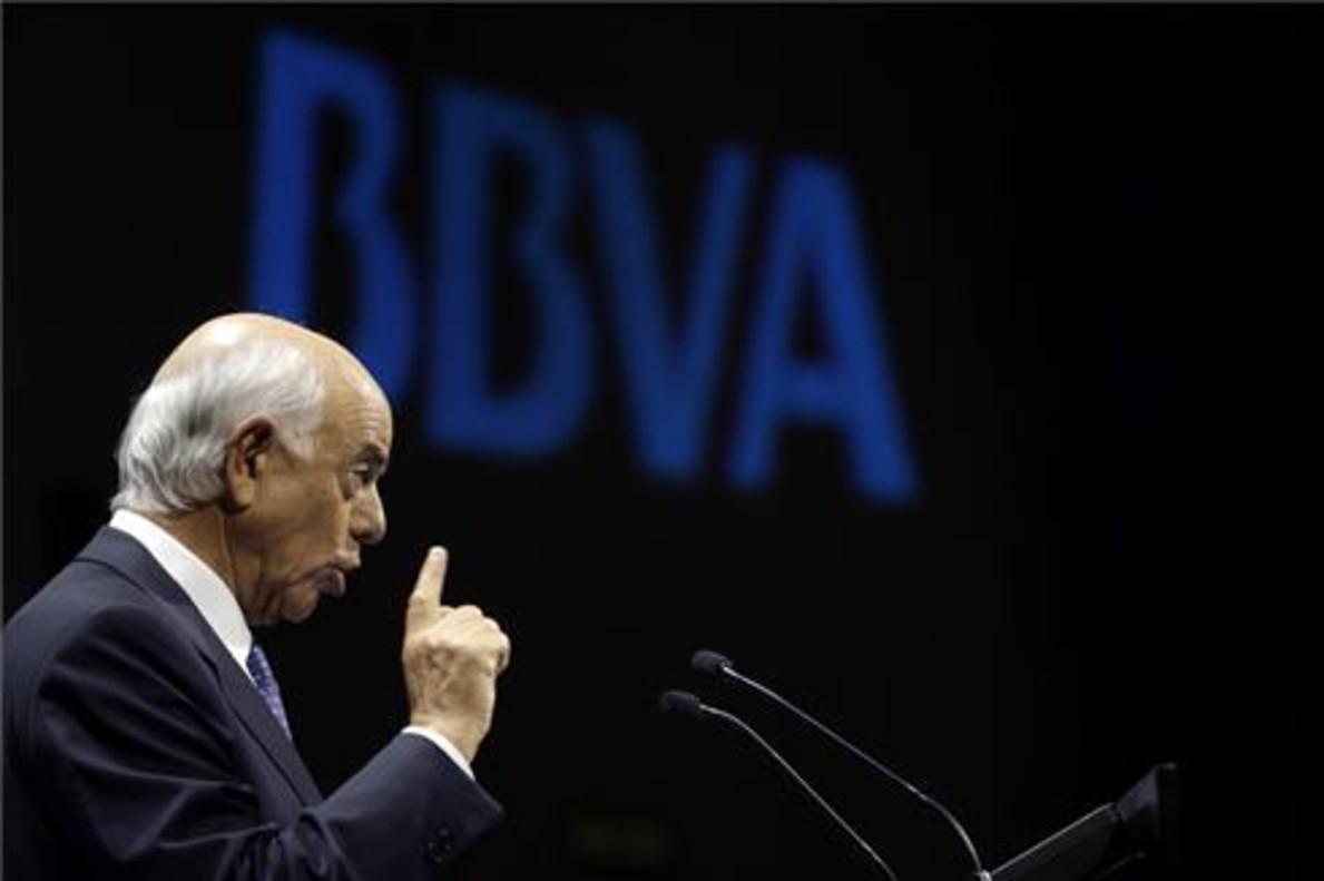 El presidente del BBVA, Francisco González en una conferencia.