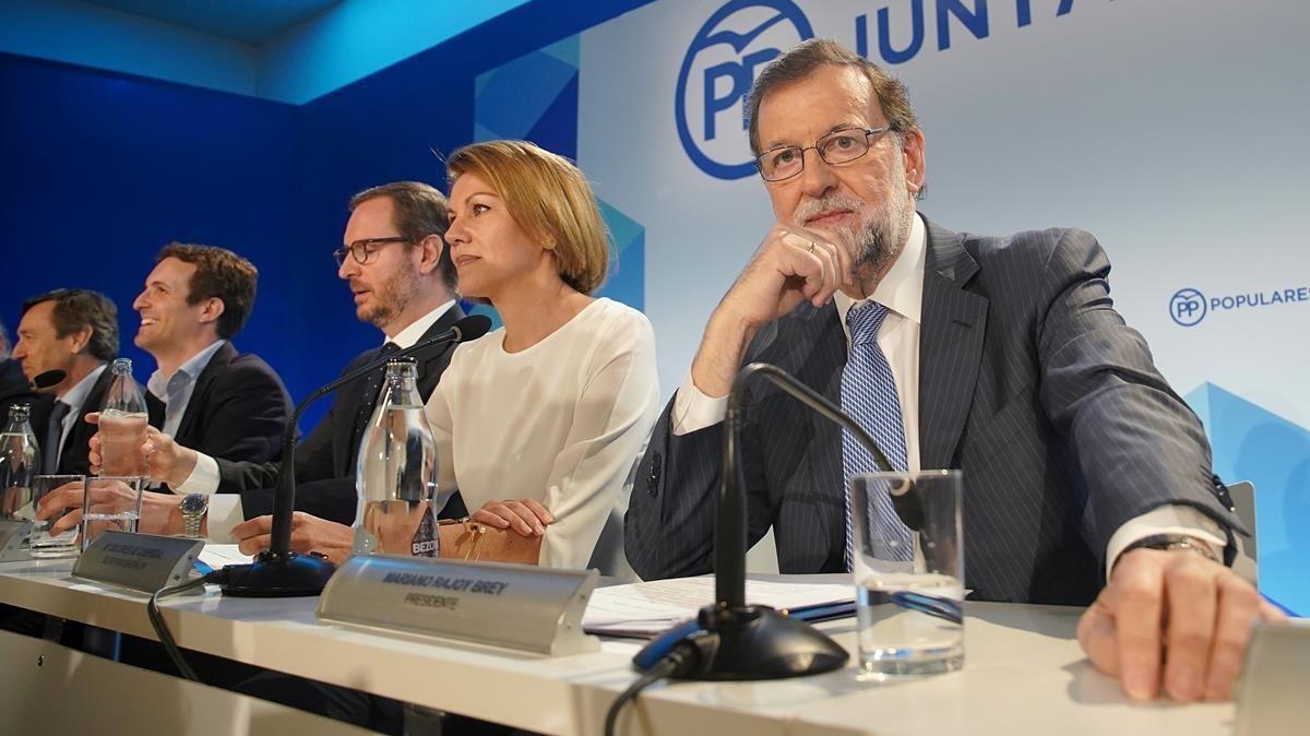 El presidente del Partido Popular,Mariano Rajoy, presidiendo la reunión de la Junta Directiva Nacional.