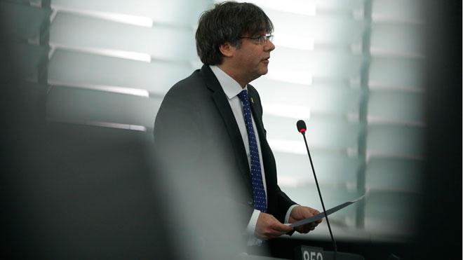 Primera intervención de Carles Puigdemont en el pleno del Parlamento Europeo.