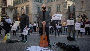Protesta de las Escuelas de Música de Catalunya el miércolesante la Generalitat.