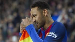 Neymar, en el partido disputado ante el Espanyol en el Camp Nou.