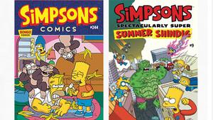 Portadas de dos números de los cómics originales de Los Simpson.