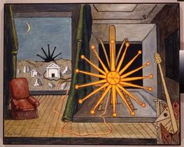 Sole sul cavalletto (1972), en la exposición de De Chirico en CaixaForum.
