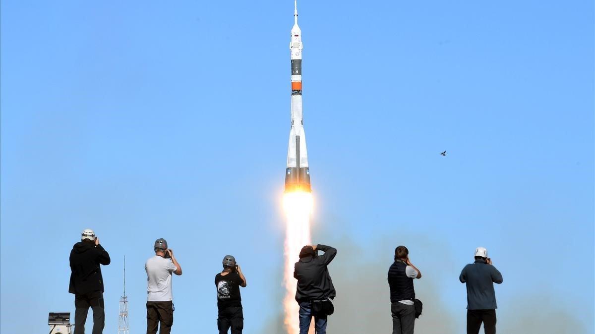 Lanzamiento de la nave rusa Soyuz MS-10, hoy.