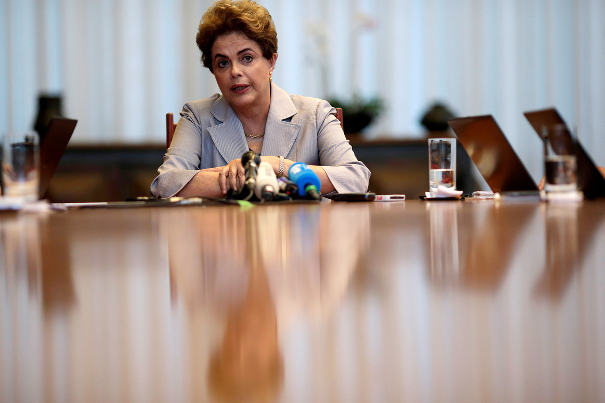Suspended Brazilian President Dilma Rousseff attends a news conference with foreign media in Brasilia, Brazil, June 14, 2016. REUTERS/Ueslei Marcelino/File Photo
