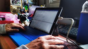 Una mujer escribe en su ordenador personal