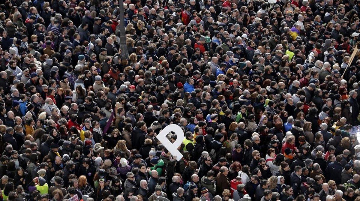 La Puerta de Sol de Madrid durante la marcha del cambio, convocada por Podemos en enero del 2015.