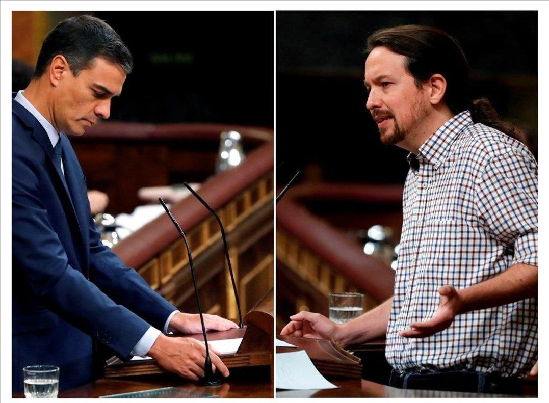 Pedro Sánchez y Pablo Iglesias, en distintos momentos del frustrado debate de investidura de la semana pasada.