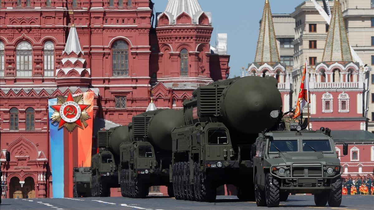 Misiles balísticos rusos en el desfile delDía de la Victoria celebrado en Moscú el pasado mes de mayo.