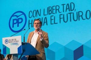Mariano Rajoy durante su intervencion en el XVII Congreso extraordinario del PP en Murcia.