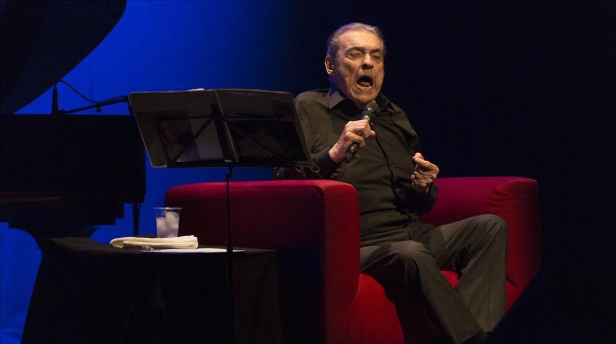 Alberto Cortez, en suúltima actuación en Barcelona, en el 2016.