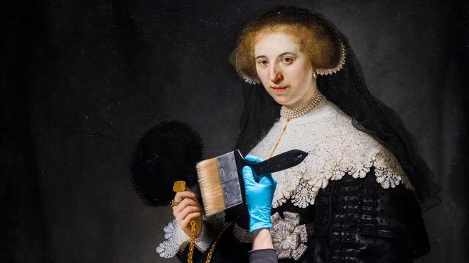 Trabajo de restauración del retrato de Oopjen Coppit pintado por Rembrandt.