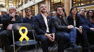 Alfred Bosch, candidato a la alcaldía de Barcelona por ERC, antes de impartir la conferencia La Barcelona que volem.