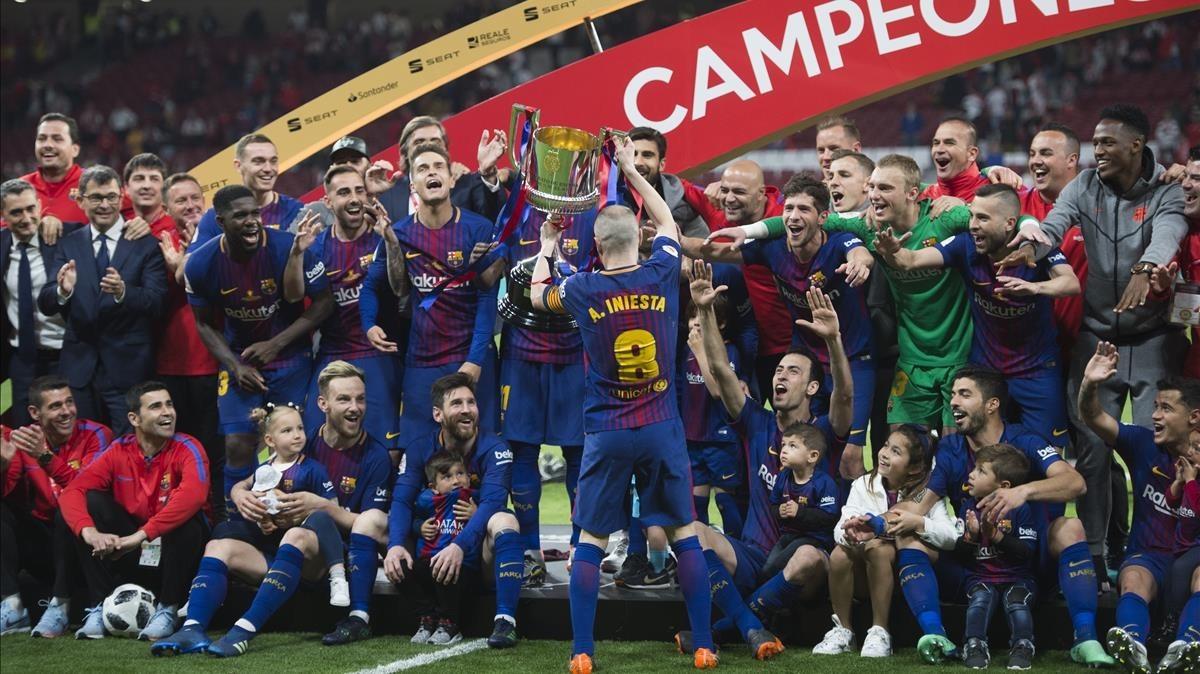 Los campeones de la Copa 2017-2018, en el Wanda Metropolitano.