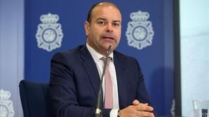 El jefe de la Oficina Nacional de Investigacion del Fraude de la Agencia Tributaria,Jose Manuel Alarcon,durante la rueda deprensa de hoy.