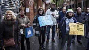 Protesta en defensa del 192, el jueves 22 de noviembre, en Poblenou.