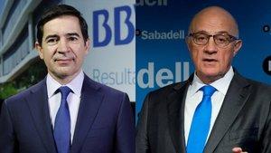 Carlos Torres, presidente del BVA, y Josep Oliu, del Sabadell.