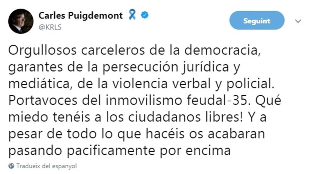 Twitter de Carles Puigdemont.