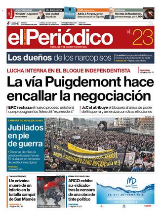 La portada de EL PERIÓDICO del 23 de febrero del 2018
