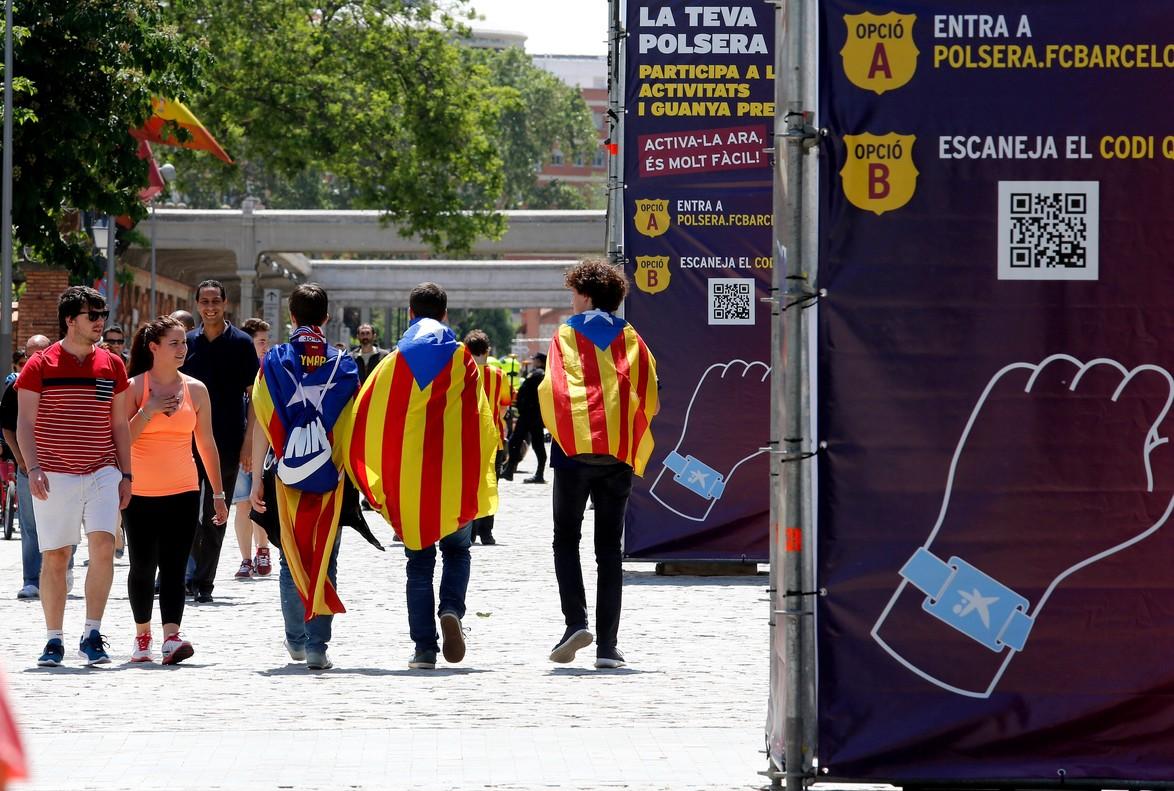 La fan zone de Barça en día de final de Copa.