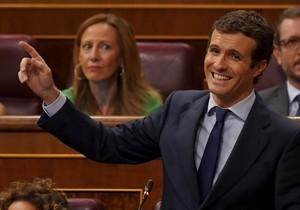 Pablo Casado durante el Pleno del Congreso.
