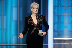 Actress Meryl Streep accepts the Cecil B. DeMille Award during the 74th Annual Golden Globe Awards show in Beverly Hills, California, U.S., January 8, 2017. Paul Drinkwater/Courtesy of NBC/Handout via REUTERS ATTENTION EDITORS - THIS IMAGE WAS PROVIDED BY A THIRD PARTY. NO RESALES. NO ARCHIVE. For editorial use only. Additional clearance required for commercial or promotional use, contact your local office for assistance. Any commercial or promotional use of NBCUniversal content requires NBCUniversal's prior written consent. No book publishing without prior approval.