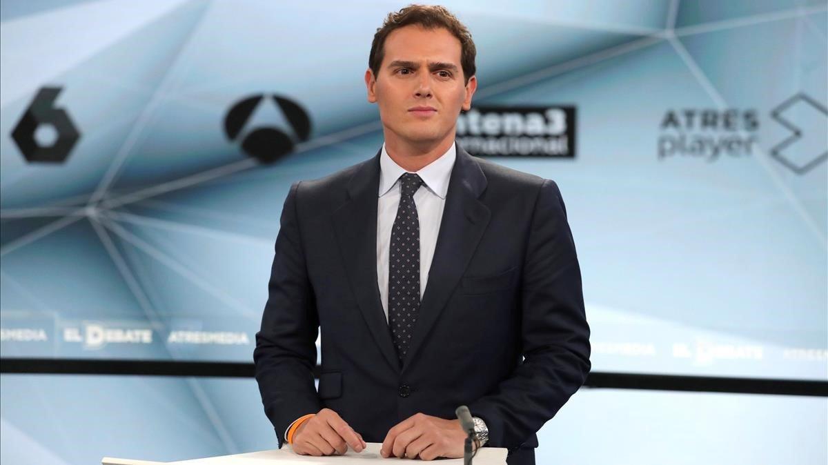 Albert Rivera, durante el debate de Atresmedia.