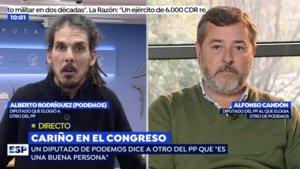 Alberto Rodríguez (Unidos Podemos) y Alfonso Candón (PP) en Espejo Público.