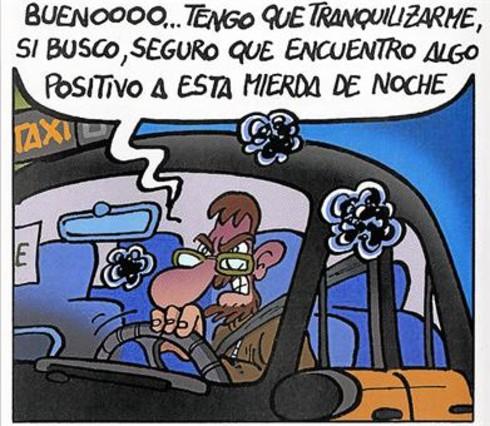 Arriba, Xavier Carrasco Bié, en una viñeta de Taxi Driver. Abajo, el dibujante, también tras el volante, frente al antiguo Hospital de Sant Pau.