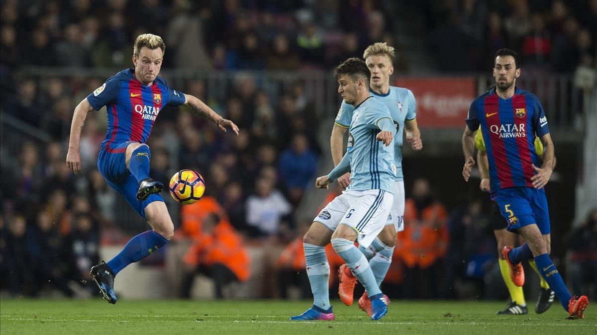Barça y Celta en uno de los encuentrosde la Liga.