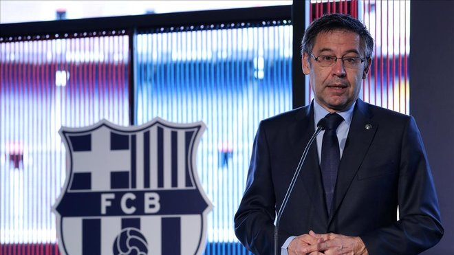 Josep María Bartomeu en unaconferencia de prensa.