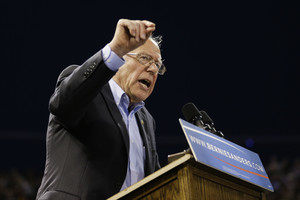 Democratic presidential candidate Sen. Bernie Sanders, I-Vt., speaks at a rally on Tuesday, May 17, 2016, in Carson, Calif. (AP Photo/Jae C. Hong)