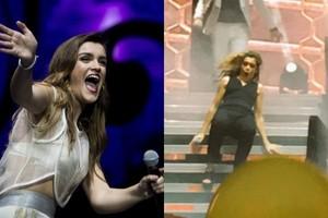 La accidentada caída de Amaia en el concierto de 'OT 2017' en Málaga