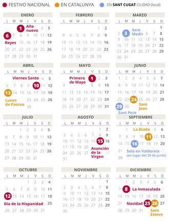 Calendari laboral de Sant Cugat del Vallès del 2020 (amb tots els dies festius)