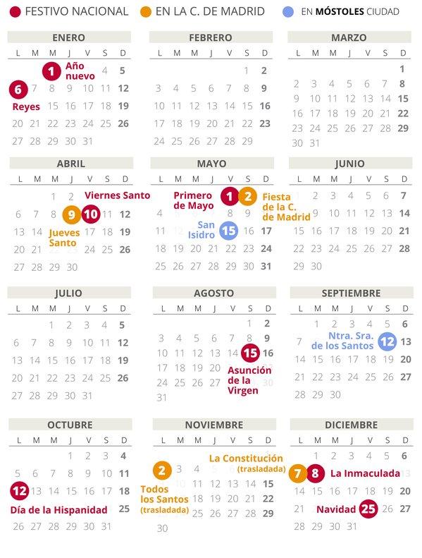 Calendario laboral de Móstoles del 2020.