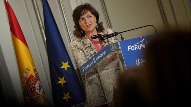"""Carmen Calvo justifica la elección de Pepu Hernández: """"Compite y gana""""."""