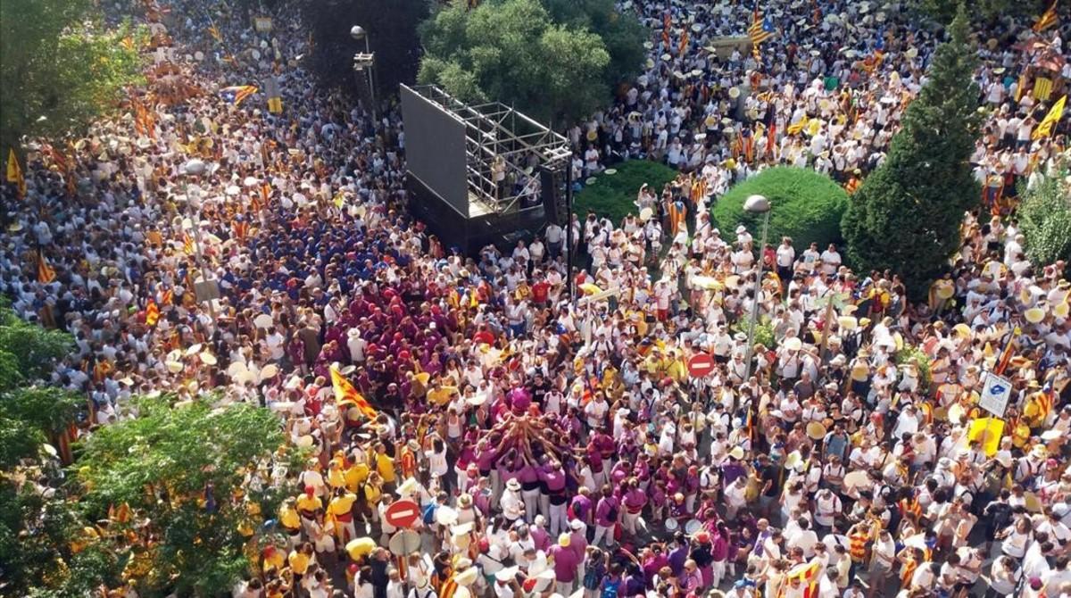 'Castells' en la manifestación de Berga.