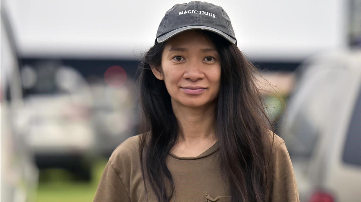 Chloé Zhao, en Pasadena, en una proyección de 'Nomadland' en un autocine, este viernes