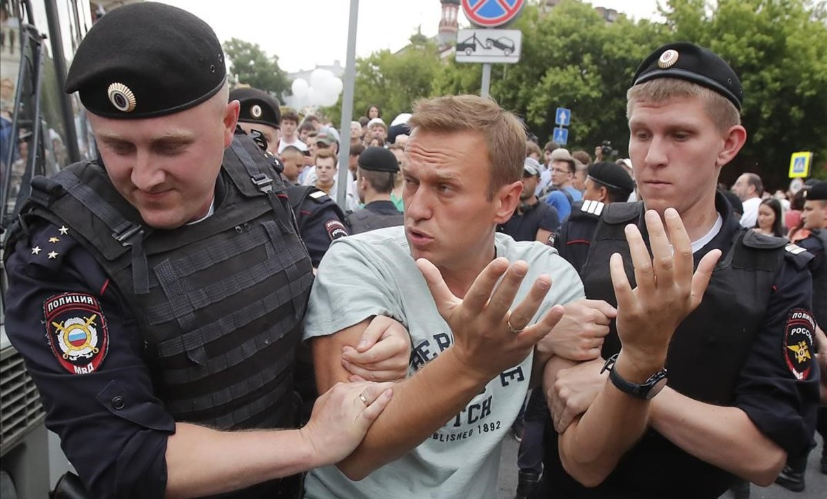 Detención de del opositor ruso Alexei Navalny, el 12 de junio del 2019.