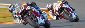 Dos Márquez, dos 93, dos Honda RC213V sobre la pista de Cheste (Valencia), el pasado lunes, con Àlex delante de Marc.