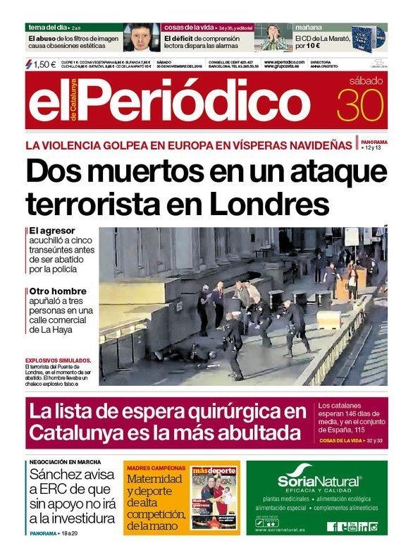 Prensa de hoy: Las portadas de los periódicos del sábado 30 de noviembre del 2019